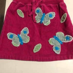 Girls Mini Boden pink butterfly Corduroy skirt 3-4